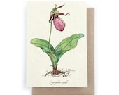 Pink Lady Slipper Card - Plantable Seed Paper
