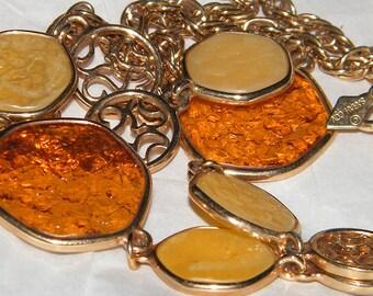 Vintage Signed Sarah Coventry Taste Of Honey Necklace