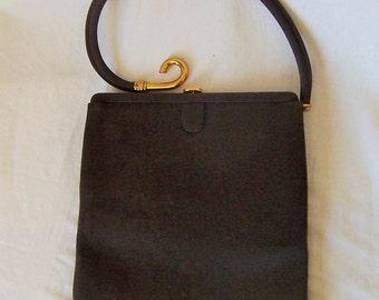 PALIZZIO vintage espresso brown fabric curvy handle novelty handbag purse