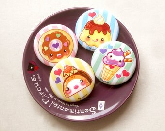"""Kawaii Sweet Desserts 1.75"""" Pinback Button Set of 4: Cute Food Pin Set, Ice Cream and Cake Food Buttons, Yummy Food Pin Badge, Donut Badge"""