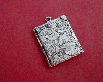 Book Photo Locket Ox Silver Brass  Engraved Tapestry Victorian Style Pendant.