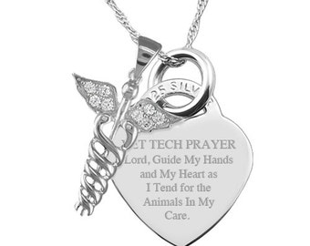 A Vet Tech Prayer with Caduceus Sterling Silver Heart Necklace Personalised/Engraved