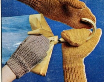 1960's Knit Mittens for the Family Pattern Instant Download PDF