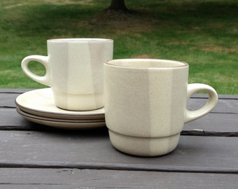 Edith Heath Ceramics Birch Two Tone Stacking Mugs with Saucers (set of two)