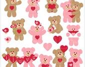 valentine's day valentines clipart clip art - Valentine Teddy Bears Digital Clip Art