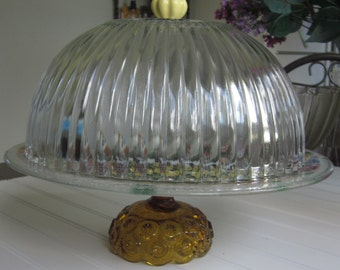 Large/Decorative/crystal/Dessert Covered Pedestal/Cake Stand/Serveware/Cloche cake dome cover/Cat garden scene/ribbed Dome