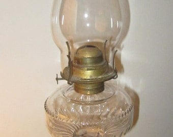 Antique Dogtooth Pattern Glass Oil Lamp1890