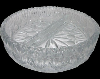 Princess House Crystal Fostoria 2 part relish Dish server