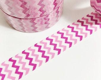 Dark Pink and Light Pink Chevron Small Chevron Washi Tape 11 yards 10 meters 15mm