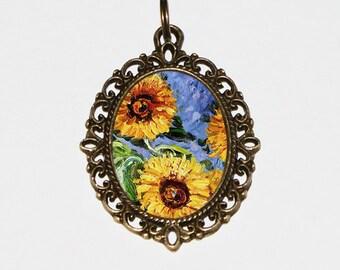 Monet Sunflower Necklace, Claude Monet, Sunflowers, Sunflower Jewelry, Oval Pendant