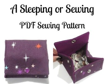 PDF Sewing Pattern, Folding Coin Pouch, Coin Purse, Wallet, Change purse, Gift card holder