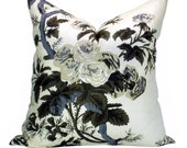 Pyne Hollyhock pillow cover in Charcoal - ON BOTH SIDES