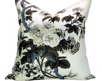 Pyne Hollyhock pillow cover in Charcoal
