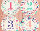 Baby Girl Monthly Stickers Baby Girl Month Stickers Plus FREE Gift Tribal Arrow Arrows Triangle Colorful Pink Aqua Purple Coral Baby Photo