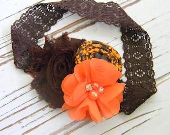 Fall Shabby Chic Headband - Girls Headband - Shabby Chic Headband - Brown and Orange Headband
