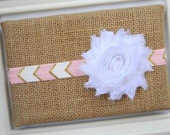 White Chiffon Headband, Baby Headband, White Flower Headband, Chiffon Headband, Pink Chevron Headband