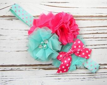 Hot Pink and Aqua Shabby Chic Headband - Girls Chiffon Headband - Shabby Chic Headband - Baby Headband