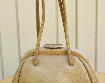 vintage 60s tan leather framed satchel bag purse small mod scooter girl by saber