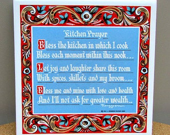 vintage 60s berggren tile trivet kitchen prayer 1962 design 150  usa