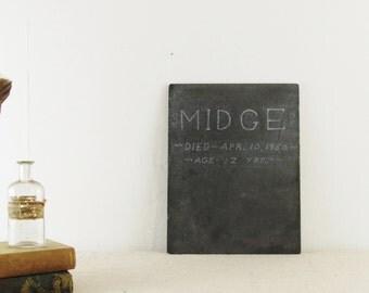 vintage DOG tombstone, Halloween decor, GRAVESTONE ,MIDGE, pet cemetary, slate chalkboard, circa 1950