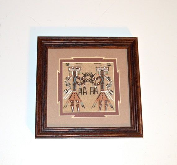 authentic navajo sandpainting wood framed wall decor wall