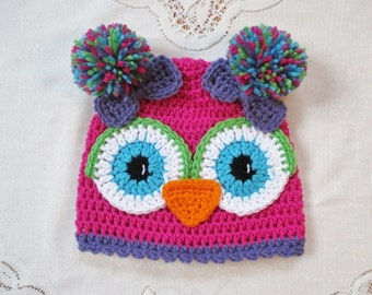 Bright Pink and Lavender Purple Crochet Owl Beanie - Available in Any Size or Color Combination
