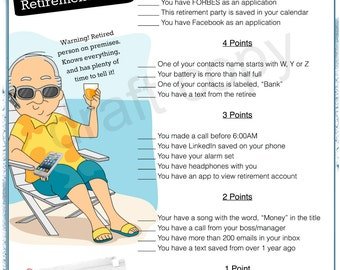 Retirement Party Game Whats In Your Phone