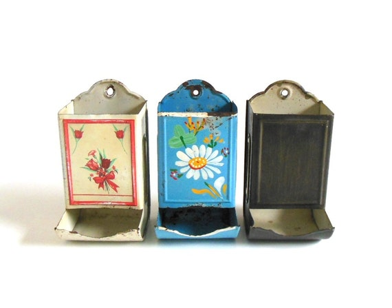 Kitchen Match Safes - Rusty Metal Tin Wall Mount Hanging Match Holder (one price buys all 3)