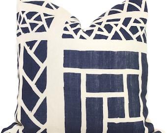 Quadrille China Seas Navy Blue Trellis Stripe Print Pillow Cover Square, 18x18, 20x20, 22x22, 24x24, 26x26 lumbar pillow, Lyford trellis