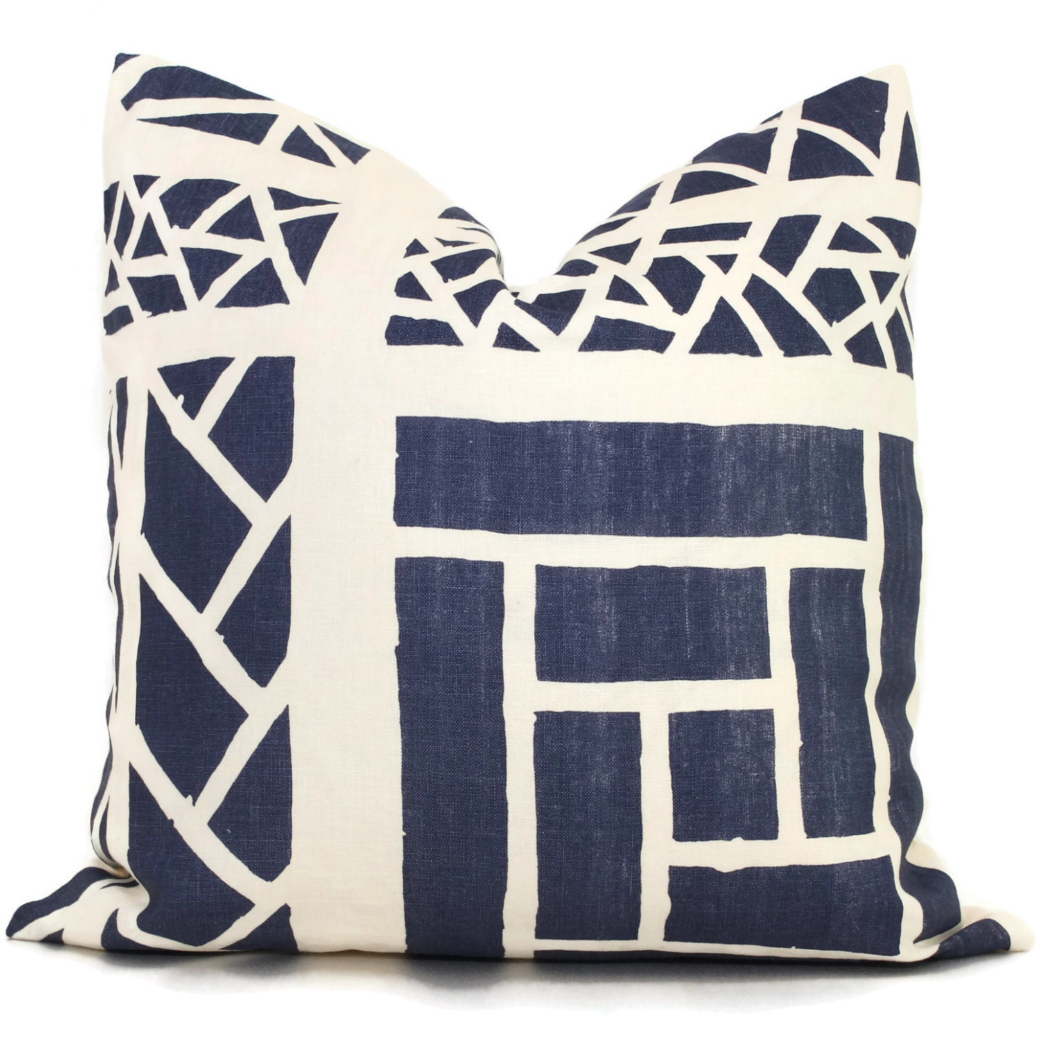 Queen Throw Pillows : Quadrille China Seas Navy Blue Trellis Stripe Print Pillow