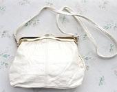 Vintage Off White Leather Handbag - Cross Body Messanger Bag