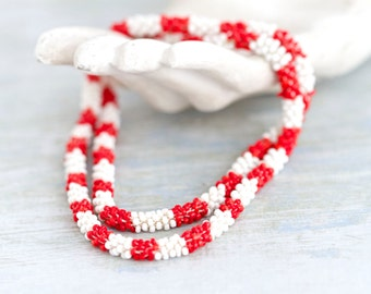 Red and White Stripes - Boho Beads Necklace