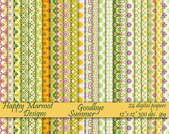 "Scrapbook Digital Paper Patterned Photo Background Printable - 24 designs - 12""x 12""- 300 dpi - jpg - GOODBYE SUMMER"