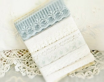 10 yards Total Flat Lace Lot Destash Lace Trim, 5 Styles, 2 Yards of each lace, Sewing Notion Sewing Craft Supplies, CharlotteStyle