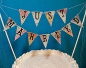 Wedding Cake Topper Banner, Just Married Map Bunting, Destination Wedding Garland, Travel