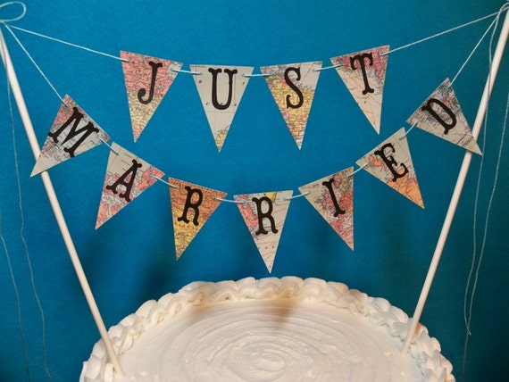 just married bunting wedding cake topper wedding cake topper banner just married map bunting 16614