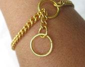 "7"" Gold Tone Choke Chain Bracelets"