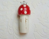 Vintage wooden french knitting doll mushroom spool