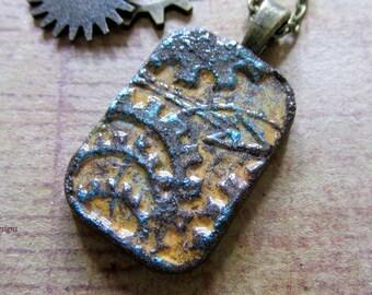 Steampunk Pendant, Clay Pendant, Necklace, Yellow and Bronze Patina, Bronze Bezel, Jewelry Supply