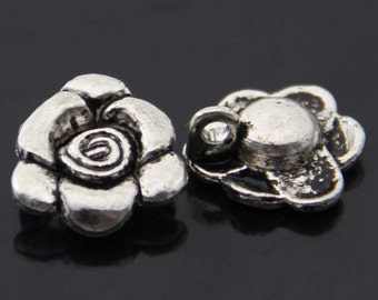 6pcs-1 loop -Antique silver metal Flower Charm beads-ALK 2885