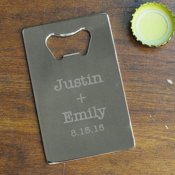 couples names credit card bottle opener wedding favors. Black Bedroom Furniture Sets. Home Design Ideas