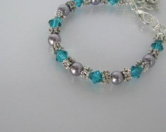 Blue Flower Girl Bracelet-Crystal Flower Girl Bracelet-Flower Girl Initial Bracelet-Bridal Party Bracelet-Flower Girl Bracelet Jewelry