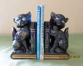 Black Cat Bookends - Vintage Cat Bookends - Small Black Kitty Bookends - Shiny Black Cat Bookends
