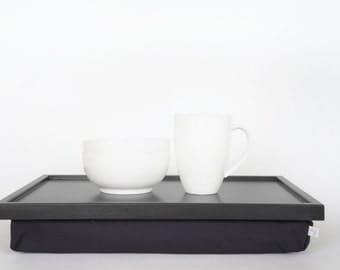 Dining serving or Laptop Lap Desk- dark grey with Dark Grey Pillow