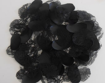 Black Lace and Satin Flower Petals / Handmade Flower Girl Petals / Wedding  / Flower Girl Basket Petals / Vintage Style Flowers