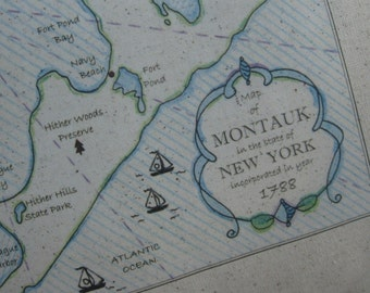 Montauk, New York, Long Island, Vintage Map Pillow, Atlantic, Vintage Maps, Blue Pillows, Cottage, Shore, Nautical Pillows, Beach Decor