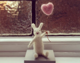 Small White Rabbit With Heart Balloon