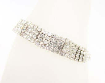 Vintage Clear Rhinestone Bracelet Art Deco 30s 40s Bridal Wedding