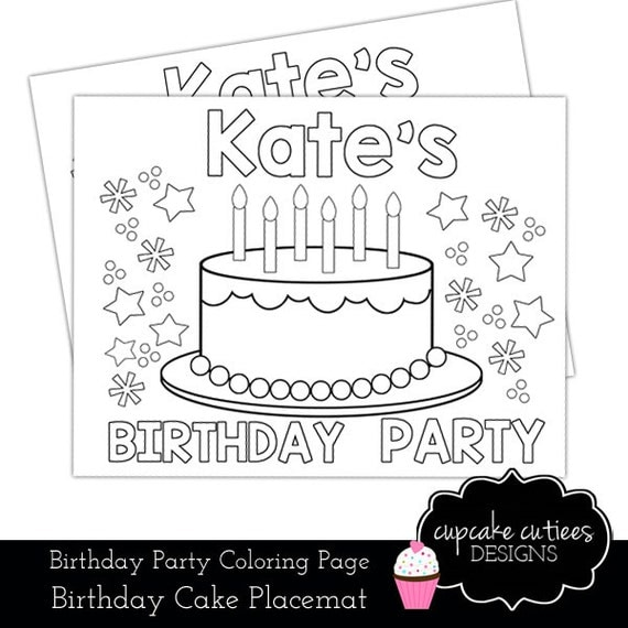 personalized birthday coloring pages | Birthday Party Custom Name Coloring Pages by ...