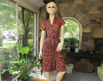 Vintage Jersey Knit Dress, Vintage Clothing, Vintage Dress with Belt, Vintage Seventies Dress, 1970's Dress